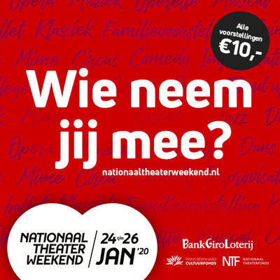 Nationaal Theaterweekend 2020, op vrijdag 24 januari 2020 om 20.30 uur